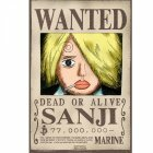 Poster plastifié Wanted Sanji (52X35)